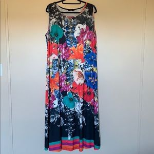 Black & Multi-Colored Floral Sleeveless Maxi Dress